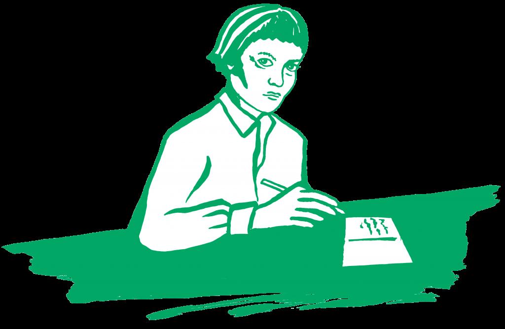 Portrait of Iris Murdoch writing a postcard