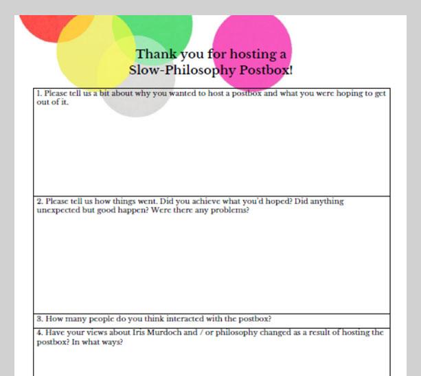 Pop-up post box feedback form